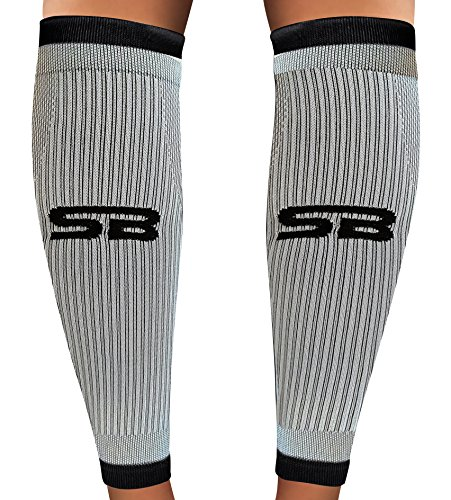 SB SOX Compression Calf Sleeves (20-30mmHg) for Men & Women - Perfect Option to Our Compression Socks - For Running, Shin Splint, Medical, Travel, Nursing, Cycling, and Leg Pain (Gray/Black, Large)