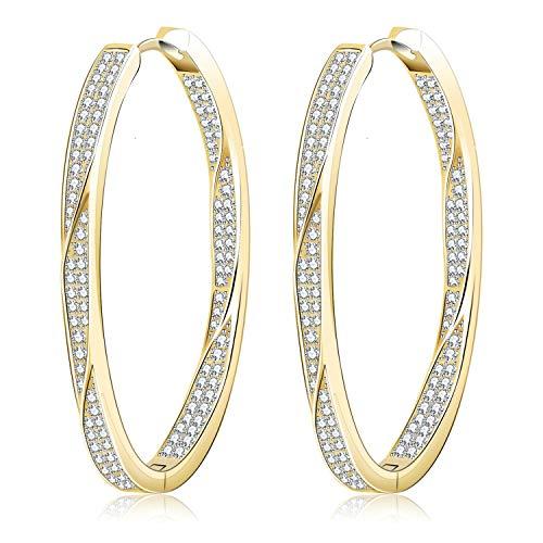 Crystal Oval Cross (Gold Plated Crystal Huggie Hoop Earrings Cubic Zirconia Twist Oval Hinged Dangle Hoop Earrings 40mm/1.6