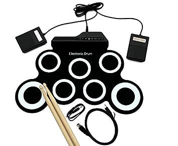 Juegos de batería MIDI portátil Roll up electrónica Altavoces incorporados, pedales, batería, cable USB, para la práctica Adecuado para principiantes Drum ...