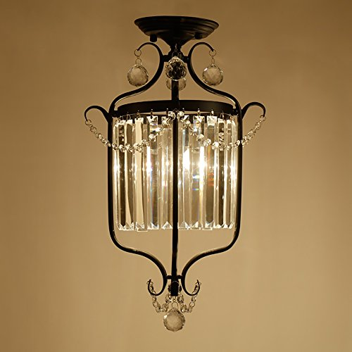TOYM US Aisle hall entrance door light American corridor balcony staircase iron crystal ceiling lamp by Ceiling Light