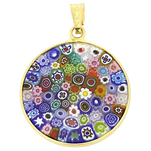 GlassOfVenice Murano Glass Millefiori Pendant Multicolor in Gold-Plated Frame (Millefiori Glass Pendant Necklace)