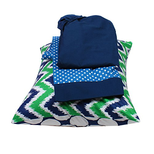 Bacati Mix and Match Zigzag/Dots 3 Piece Toddler Bed Sheet Set, Navy/Green