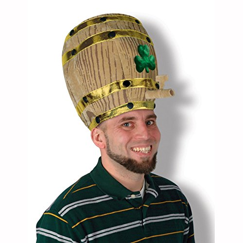 Pack of 6 Plush Beer Barrel Hat with Shamrock and Gold Trim - Adult Sized - 6 Pack Beer Costume
