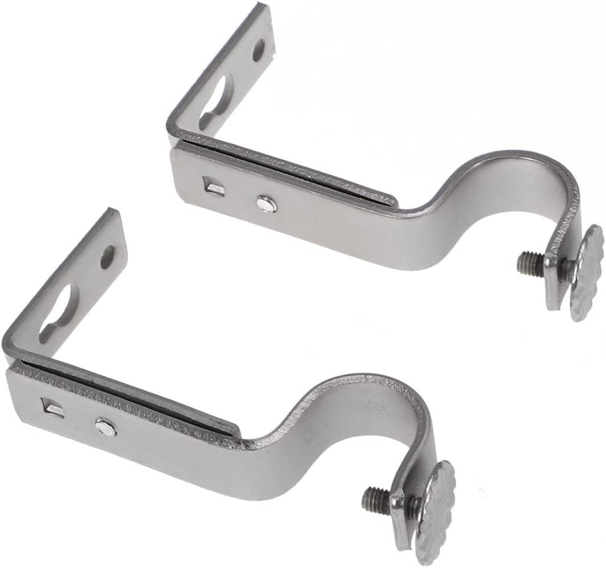 WINOMO 2pcs Ajustable Barra de Cortina Soportes 18-22 mm (Mate niquelado)