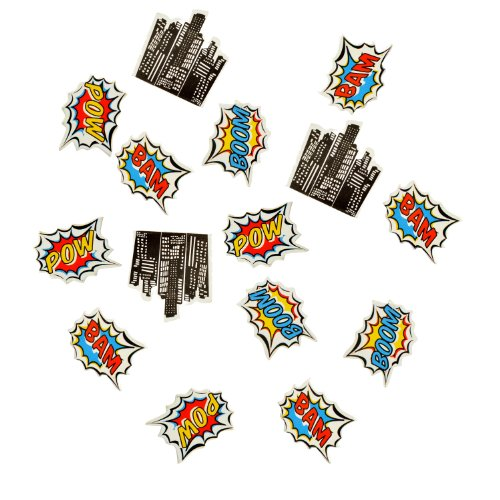 Ginger Ray Pop Art Superhero Birthday Decorations Table Party Confetti, Mixed (Party Printed Confetti)