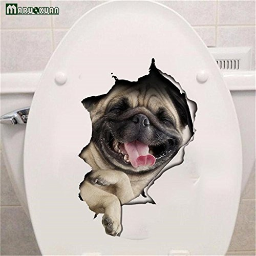 Copter Shop Vivid Hole View Toilet Sticker animal Pet Dog Wall Sticker Decorative Bathroom Wall Stickers Personality fashion (Hillary Clinton Cookies)