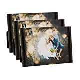 BorderTrends Mini Clip 3.5-Inch by 5-Inch Photo Frame Set of 3, Black