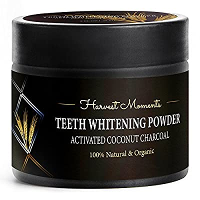 Premium Teeth Whitening Activated Coconut Charcoal Powder - Boost Your Attractiveness & Confidence Easily - Amazing Tooth Whitening Kit - Best Teeth Whitener by Harvest Moments