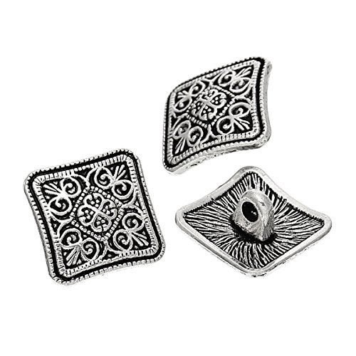 Metal Flower Buttons (PEPPERLONELY Brand 10PC Sewing Metal Buttons Square Antique Silver Flower Pattern Carved 13mm x 13mm( 4/8 x 4/8))