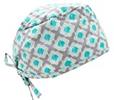 Teal Blue & Grey Diamond Medical Scrub Cap