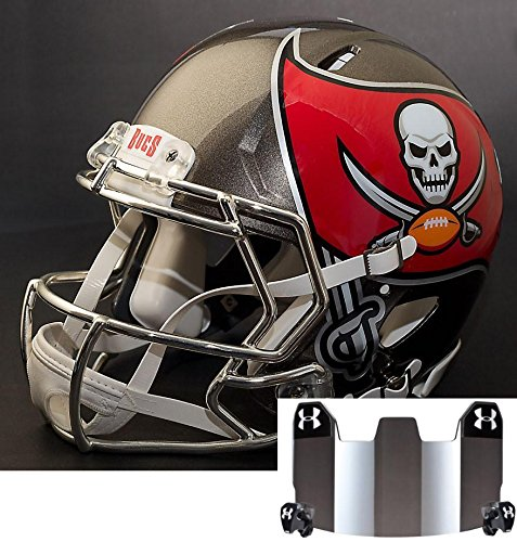 Riddell Speed Tampa Bay Buccaneers NFL Replica Football Helmet with CU-S2BD-SW Football Helmet Facemask/Faceguard and Mirrored Eye Shield/Visor (Football Tampa Bay Buccaneers Replica Helmet)