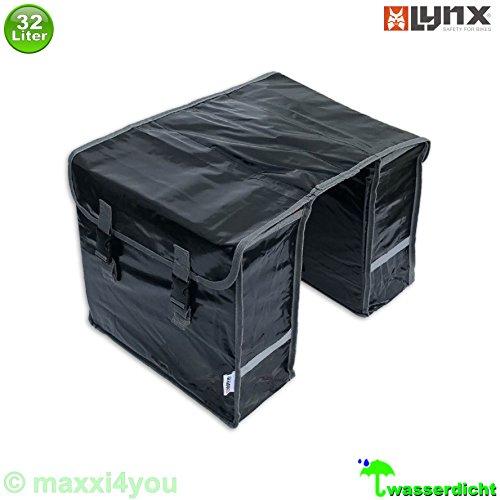 01170408 Lynx Gepäckträgerdoppeltasche Fahrradtasche Packtasche 32 l wasserdicht