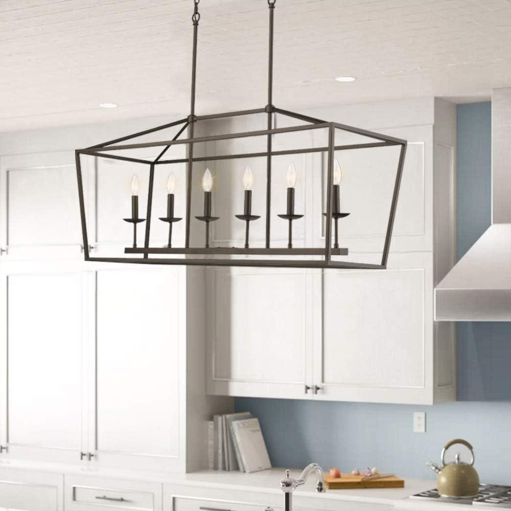 Emliviar 6 Light Kitchen Island Lighting Modern Linear Pendant Light Fixture Oil Rubbed Bronze Finish P3035 6lp Amazon Co Uk Diy Tools