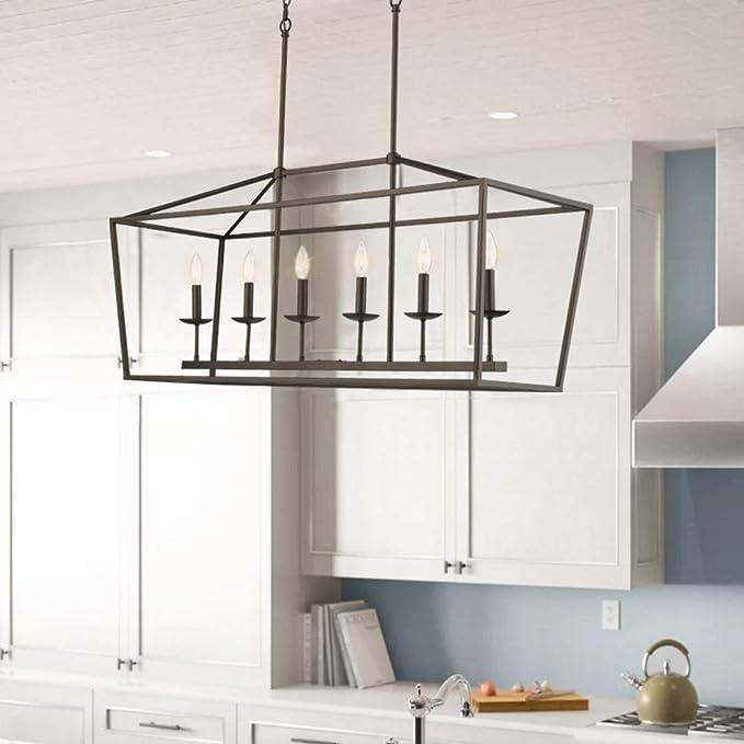 Emliviar 6 Light Kitchen Island Lighting Modern Linear Pendant Light Fixture Oil Rubbed Bronze Finish P3035 6lp Amazon Ca Home Kitchen