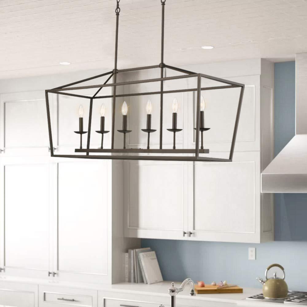 Emliviar 6-Light Kitchen Island Lighting, Modern Linear Pendant Light Fixture, Oil Rubbed Bronze Finish, P3035-6LP by EMLIVIAR (Image #2)