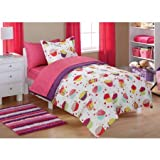 Mainstays Kids Cupcake Coordinated Bed in a Bag Includes Comforter, Pillow Sham(s), Flat Sheet, Fitted Sheet, Pillow Case(s), FULL