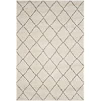Safavieh Arizona Shag Collection ASG742A Southwestern Diamond Geometric Ivory and Beige Area Rug (67 x 92)