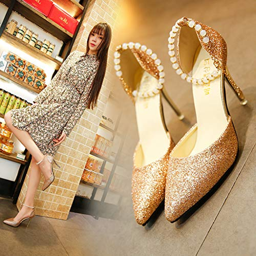 Women's Casual High Oro Ladies Donna banchetto Tacchi Sandals Summer Heels Alti Scarp Festa Heel Shoes UUOprqgw