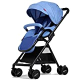 Baby carriage PeaceipUS Baby Trolley High Landscape Can Lie Down Ultra-Light Portable Foldable 1-3 Years Old Child Baby Widened Lengthened Two-Way Umbrella Car Trolley Aluminum Alloy Oxford Cloth