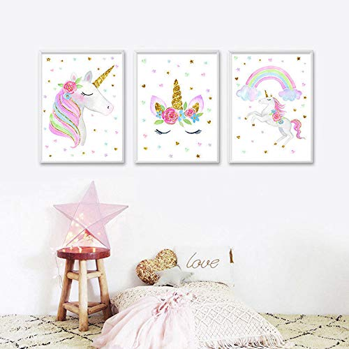 EVAIL Unicorn Wall Posters Rainbow Unicorn Canvas Wall Art Prints Painting Decoration Pictures Set of 3 (8x11.8 for Girls Kids Bedroom Nursery Wall Decor Gift,No Frame