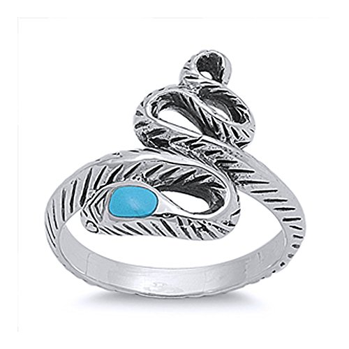 (Sterling Silver Simulated Turquoise Accented Snake Ring 18mm (Size 5 to 12), 12)