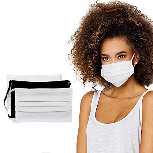 SAFERMASK Certified Luxury Premium European Cotton Protective Face Mask 3 Pack Reusable Double Face Cotton Washable No Chemical Soft Breathable 1 Black 2 White Colors