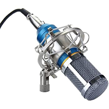 Excelvan BM-800 Condenser Microphone Sound Recording Dynamic + Mic Shock Mount, Ideal for Radio Broadcasting, Voice-Over and Recording Studio