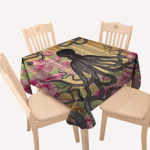 Kraken Octopus Roses Leaves Tentacles Octopi Vintage Antiqued Textiles Decor Print Dinning Tabletop Decoration Pink Fuchsia Green Gray Brown Square Tablecloth W54 xL54 inch