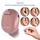 NENRENT S570 Bluetooth Earbud,Smallest Mini V4.1 Wireless Bluetooth Earpiece Headset Headphone Earphone with Mic Hands-Free Calls for iPhone iPad Samsung Galaxy LG and Smartphones 1pcs (Rose Gold)