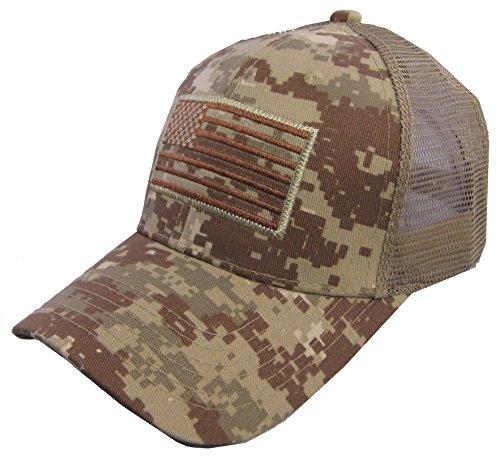 Camo Baseball Style Hats (USA Flag Patch Tactical Style Mesh Trucker Baseball Cap Hat Desert Camo)