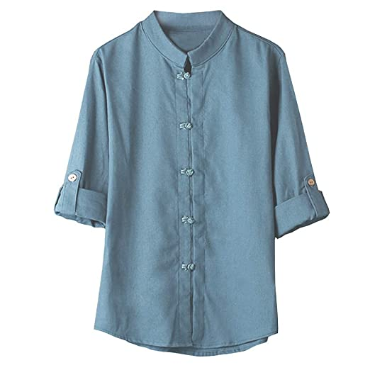42b1e00a Mens T Shirts Men Classic Chinese Style Kung Fu Button Down Shirts Tops  Tang Suit 3
