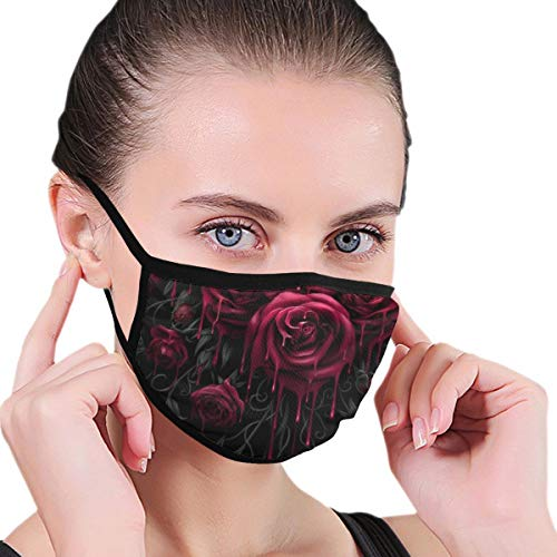 YOFFYO Fashion Face Mask Adjustable Elastic Band Hypoallergenic Face and Nose Cover for Pollen Smog Medical Climbing - Anti Pet Hair Allergy (Blood Red Rose Mouth Mask)