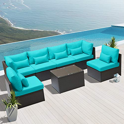DINELI Outdoor Sectional Sofa Patio Furniture Wicker Conversation Sofa Espresso Brown Rattan Sofa Set G7 Turquoise