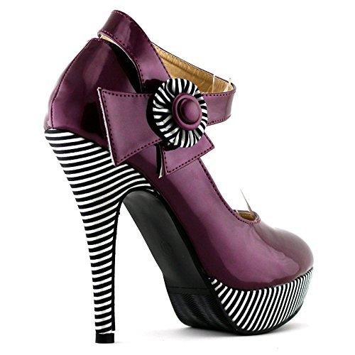 tobillo correa Sexy flor Mostrar Violeta estilete de raya plataforma bombas Rojo historia LF30404 zapatos ZSqIwt