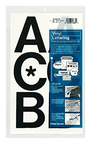 Chartpak Self-Adhesive Vinyl Capital Letters, 3 Inches High, Black, 50 per Pack (01070)