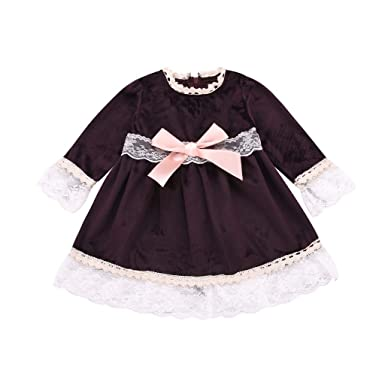 ff290b6699eb Amazon.com: Jchen(TM) Little Girl Spring Dress Kids Baby Girls Long Sleeve  Lace Patchwork Bow Princess Dresses Party Dress for 0-4 Y: Clothing