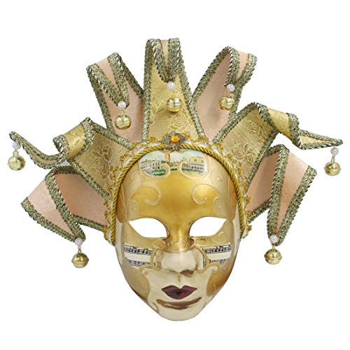 (Hophen Gold Volto Music Venetian Jester Mask Masquerade Halloween Party Bell Joker Wall Decorative Art Collection Mask)