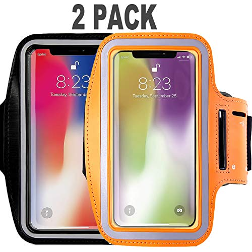 [2Pack] Water Resistant Cell Phone Armband Case CaseHQ for iPhone X, Xs,XR,MAX 8, 7, 6, 6S Plus, Galaxy S9, S8, S7, S6, A8 Adjustable Band,Key Pouch Holder Pouch Running,Walking, Hiking,Black Orange