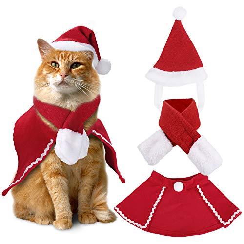 Christmas Small Dog Costumes Set Santa Hat Scarf Cloak Set Xmas Party Dressing for Small Dogs Cats Christmas Santa…