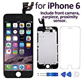 "iphone 4 color front glass - Corepair for iPhone 6(4.7"") Screen Replacement Black Full Assembly Retina LCD Display Touch Digitizer with Front Camera, Earpiece, Proximity Sensor, Screen Protector, Repair Tools(iPhone 6 Black)"