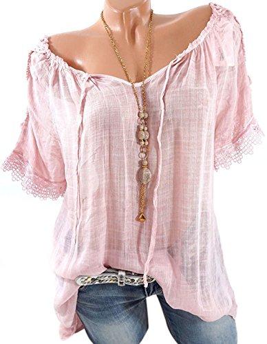 Haut Longue Femme Manches Casual Col Chemisiers T Dentelle Mi Bateau Shirts Courtes Blouses Tunique t Tops Rose Fashion pissure Lache Bandage qETYEd