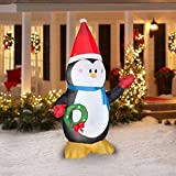 Christmas Inflatable 7' Penguin with Santa Hat Holding Wreath