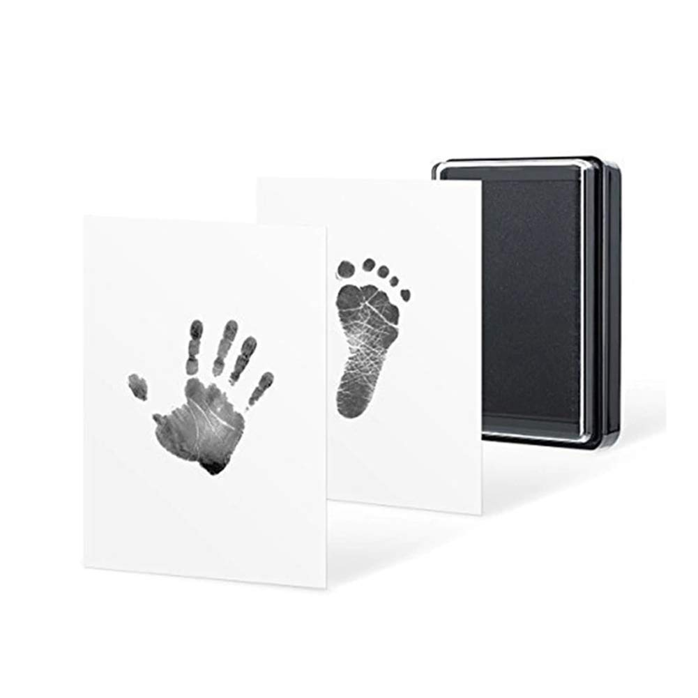 Baby Footprints Hand Prints and Fingerprints Kit Includes Ink Pad and Two Imprint Cards Baby Safe Non-Toxic Hand Foot Print Ink Pads(No Photo Frame) WARMTOWE