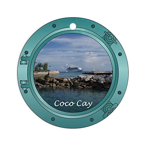 (Delia32Agnes Coco Cay Cruise Ship Christmas Ornaments Porcelain Ceramic Round 3 Inches Ornament Christmas Tree Decorations)