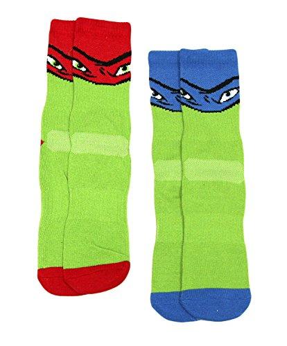 Boys' Teenage Mutant Ninja Turtles 2-Pack Crew Sock (Red/Blue, M/L) ()