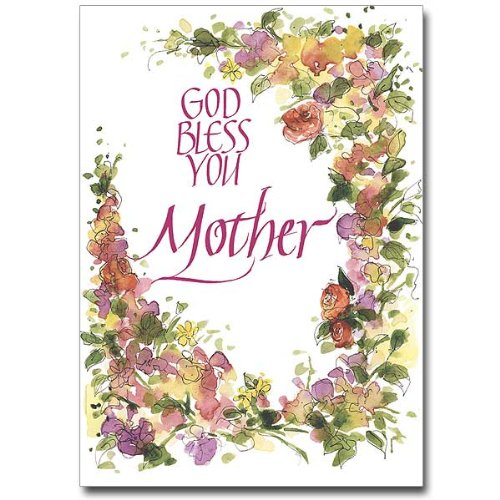 Mother's Day Deluxe Religious Greeting Card w/Floral Border, Mom's Prayer HC w/Embossed Envelope & Free Cross Bookmark