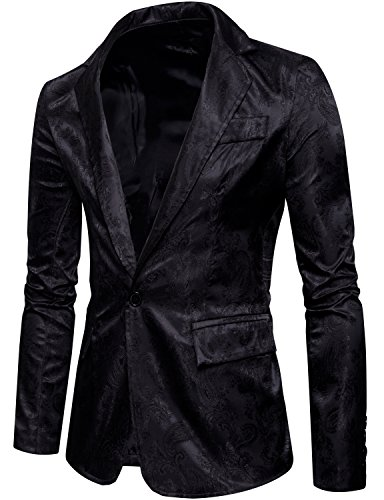 ZEROYAA Mens Hipster Slim Fit One Button Single Breasted Paisley Stylish Suit...
