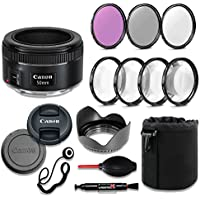 Canon EF 50mm f/1.8 STM Lens Deluxe Accessory Bundle includes High Definition Filters, Macro Close Up Kit, Lens Pouch, Tulip Lens Hood, Lens Caps and More....