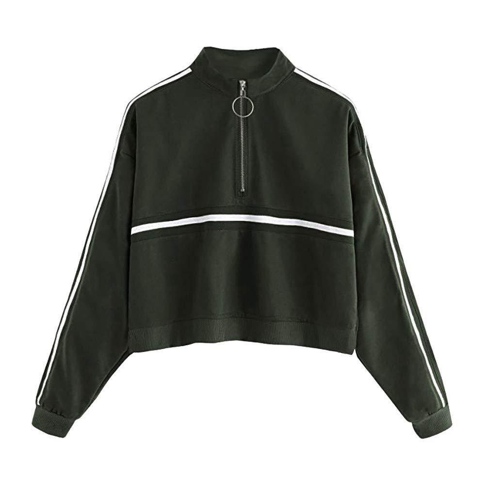 Women's Sweatshirt, ShenPr Turtleneck Stripe 1/2 Zipper Long Sleeve Sweatshirt Jumper Pullover Tops Blouse