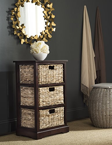 Safavieh American Homes Collection Halle Cherry 3 Wicker Basket Storage Side Table